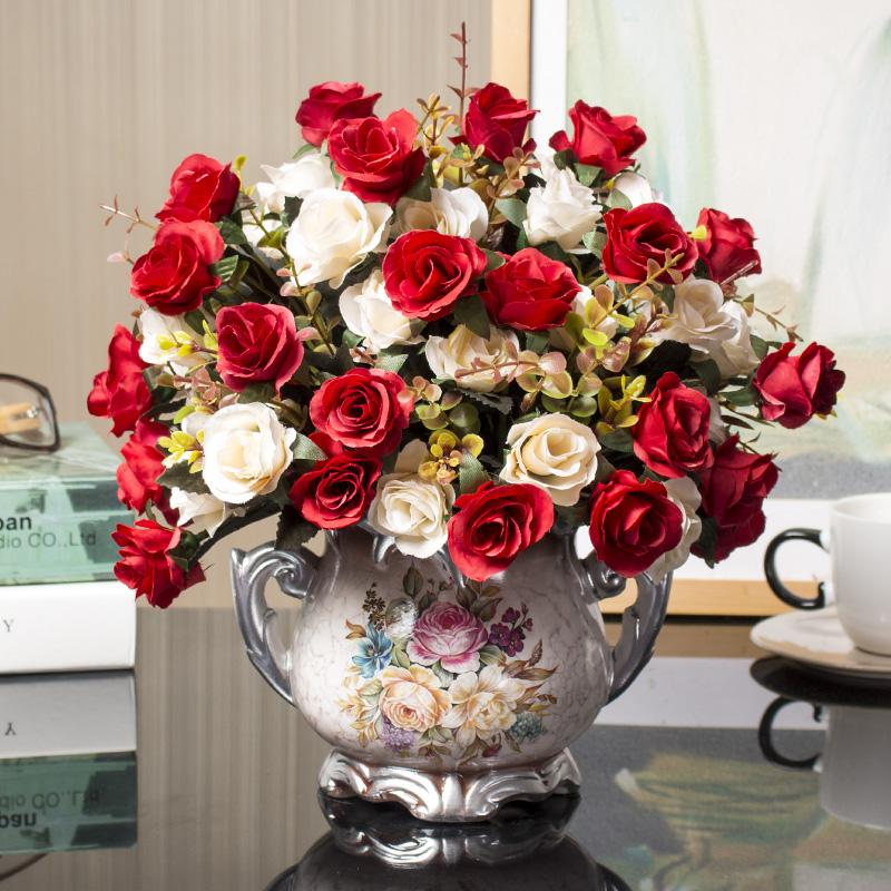 客厅摆设 假花装饰 餐桌仿真摆花塑料绢干花摆件欧式家居花艺饰品