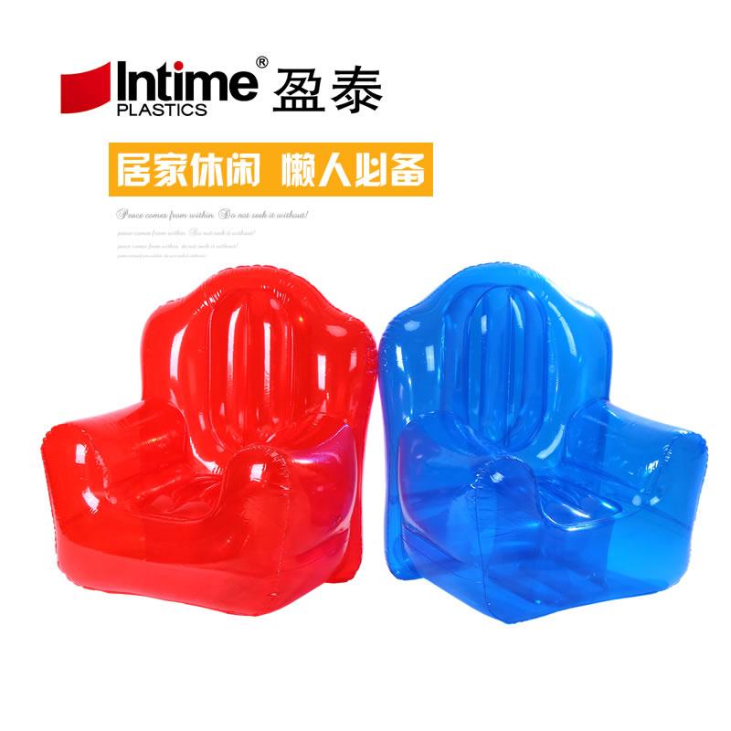 透明充气沙发单人充气床 充气两用躺椅 粉色 蓝色 送充气泵