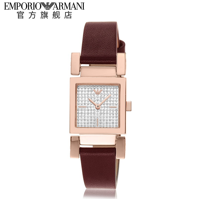 Armani阿玛尼手表女石英皮带满天星金色手表潮流女士腕表AR11280