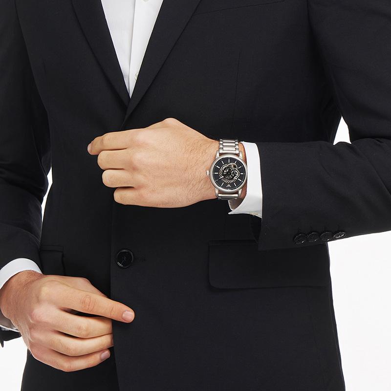 Armani阿玛尼男士手表2020新款镂空小众钢带设计感机械表AR60021