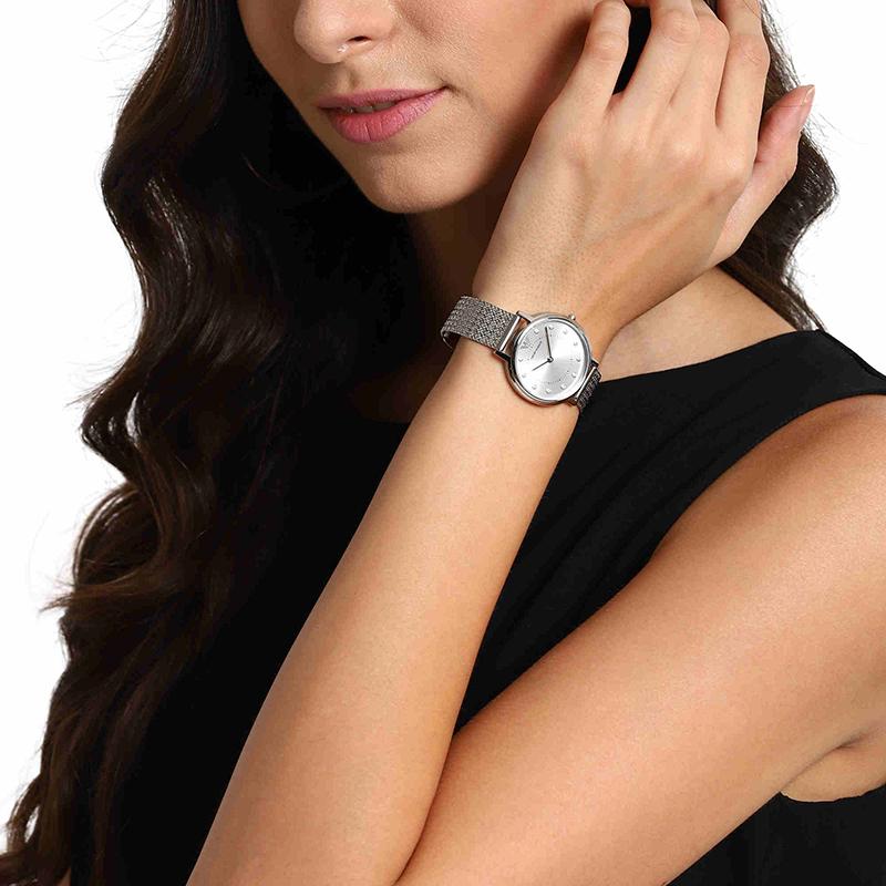 Armani阿玛尼官方手表女摩天轮简约钢带石英表耳钉礼盒装AR80029