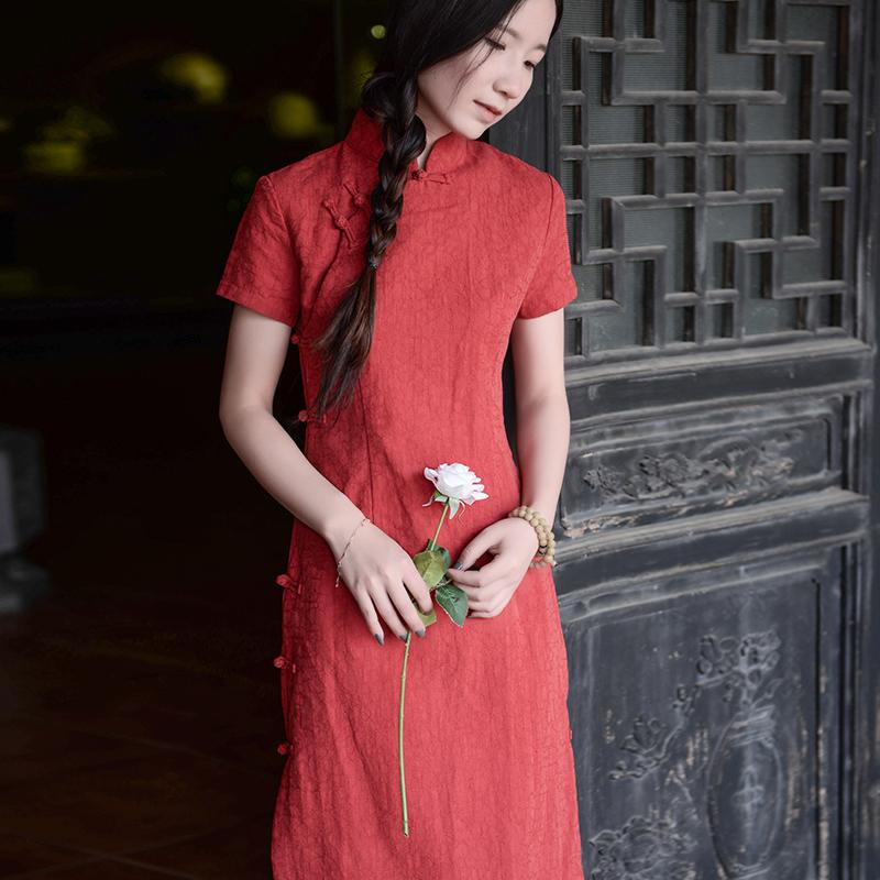 棉麻旗袍复古盘扣中式大码女装改良刺绣茶服女禅意文艺宽松连衣裙
