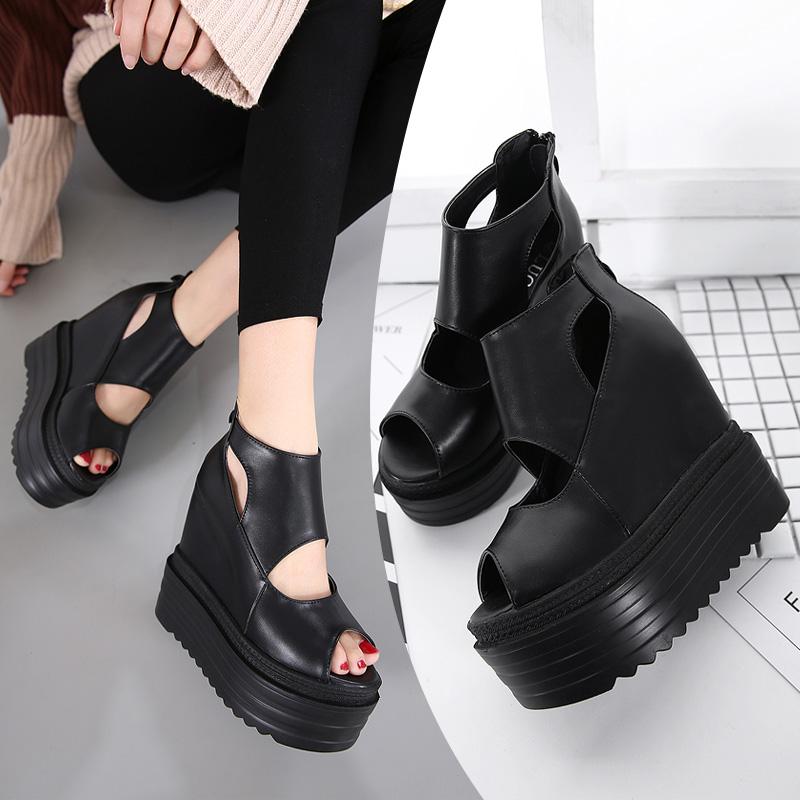超高跟坡跟鱼嘴鞋韩版厚底14CM镂空凉鞋性感防水台女鞋松糕单鞋夏