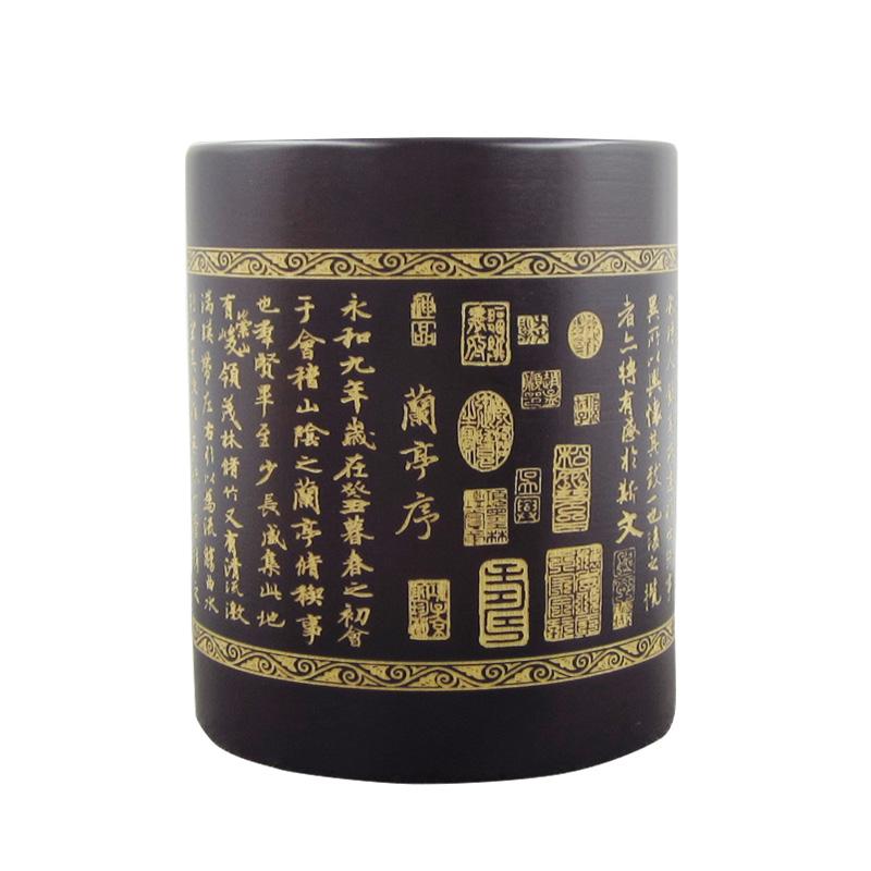 竹制笔筒天然竹雕毛笔筒复古竹子笔筒中国风创意办公室笔筒收纳盒