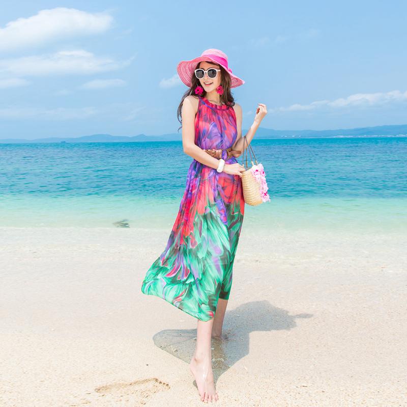 波西米亚连衣裙女夏2019新款雪纺三亚显瘦海边度假沙滩裙海滩长裙