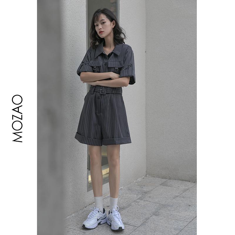 MZ竖条纹工装连体裤女2021春夏新款小个子收腰显瘦韩版百搭休闲裤