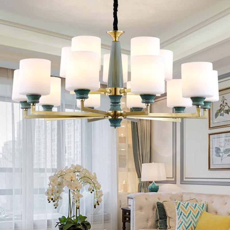 美式全铜大气客厅吊灯简约创意个姓纯铜陶瓷灯轻奢大厅别墅餐厅灯