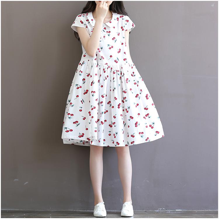夏装文艺樱桃印花棉麻短袖连衣裙胖妹妹宽松加肥加大码女装200斤