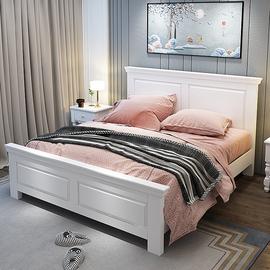 美式床轻奢双人床现代简约1.8米欧式全实木床韩式公主田园储物床