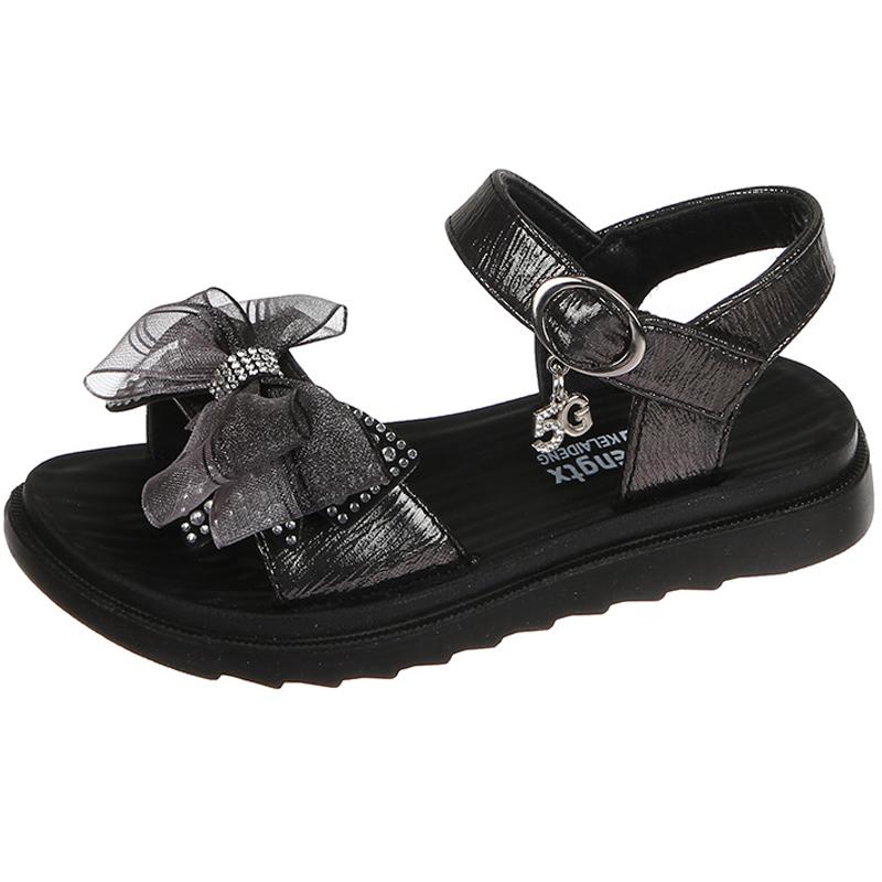 女童凉鞋夏季小公主鞋2020新款时尚小女孩儿童软底蝴蝶结中大童鞋