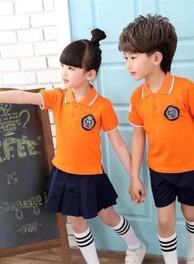 夏季校服小学生班服幼儿园园服 橙色短袖短裤裙男女童T恤运动套装