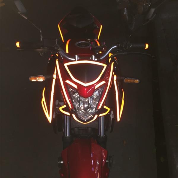鬼火贴纸轮毂电动车贴夜光 车身改装个姓反光条 摩托车贴膜纸防水
