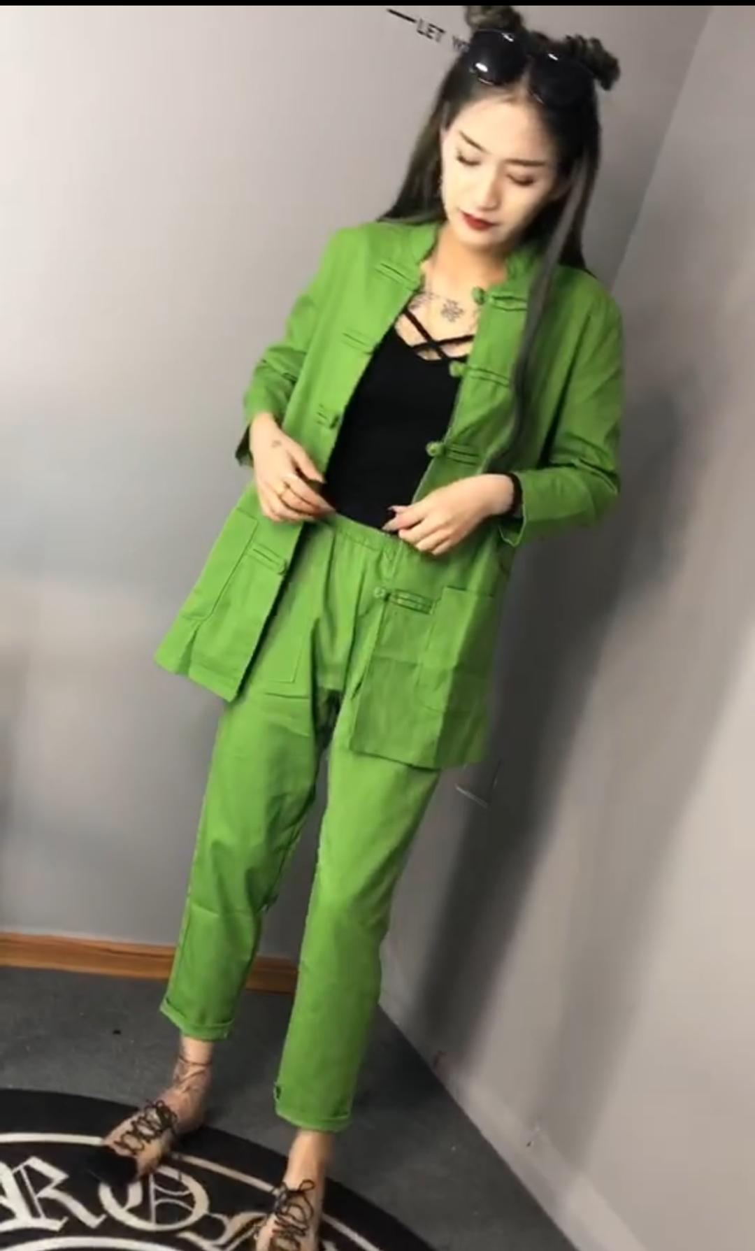 社会女快网红巨婴潘婷同款唐装盘扣帅气衬衣+松紧哈伦裤两件套装