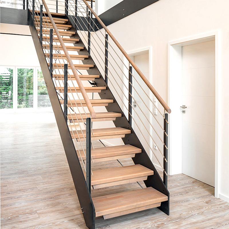 钢木直梁双梁铁艺楼梯室内家用跃层别墅阁楼旋转现代简约欧式定制