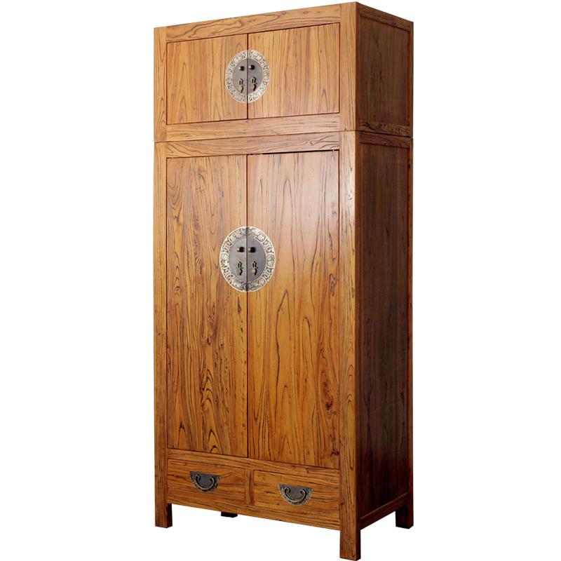 古朴年代老榆木实木顶箱柜组合新中式古典储物柜多空间简约衣柜