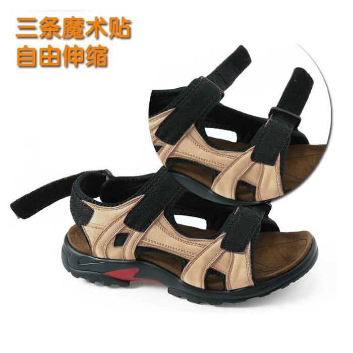 夏季男士凉鞋真皮45加肥加大号46厚底休闲沙滩鞋47加宽特大码48