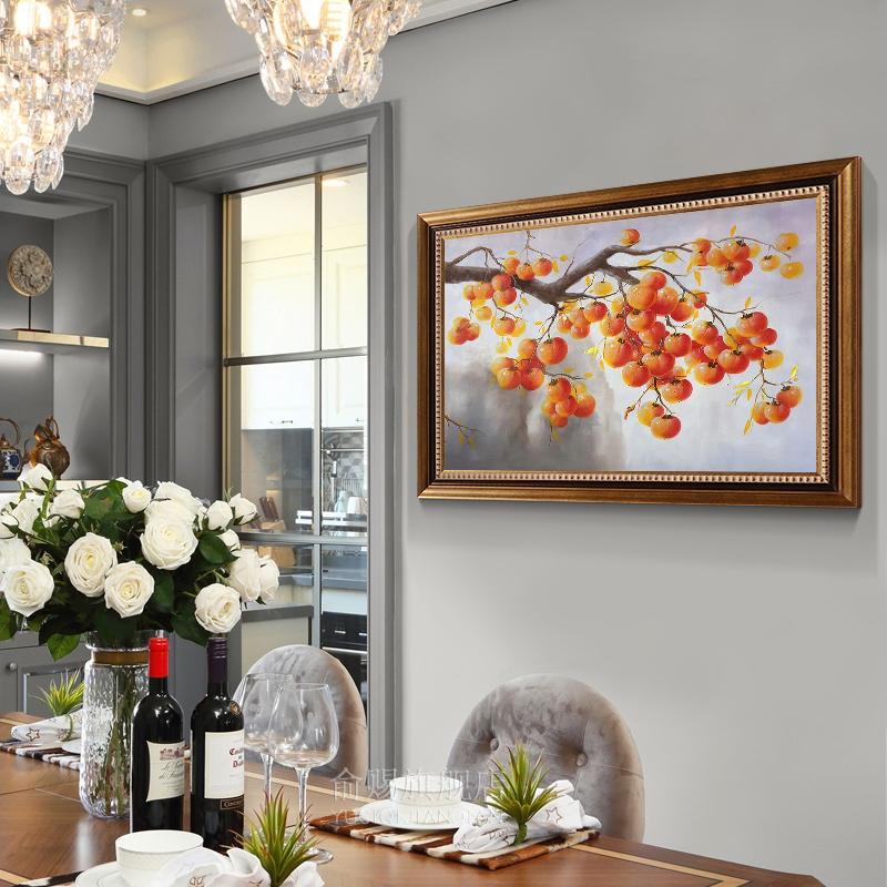 新中式定制手繪油畫玄關豎版過道走廊客廳裝飾畫餐廳掛畫柿子
