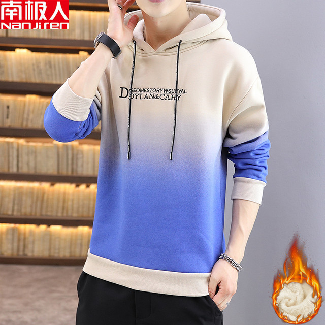 Antarctic people autumn and winter plus velvet thick hooded long-sleeved sweater men's trend loose hoodie T-shirt men's jacket