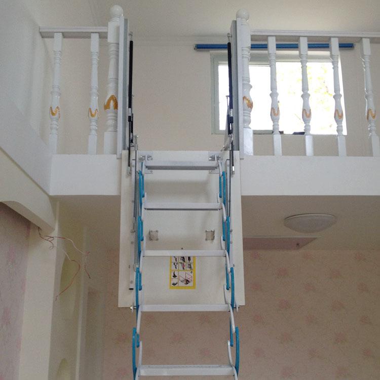 侧装复式别墅伸缩楼梯家用钢木隐形小阁楼室内折叠升降带扶手