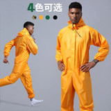 Dust-proof clothing waterproof rain-proof clothing labor protection even body with a hat spray paint polished raincoat work clothes men and women printed words