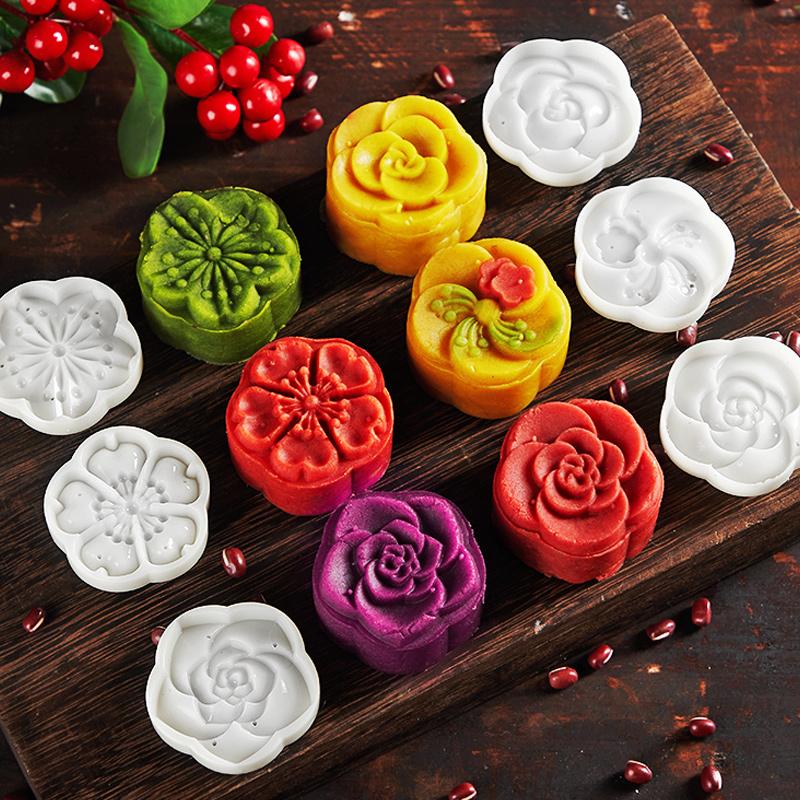 中秋卡通月饼模具家用不粘手压式 烘焙冰皮压花做绿豆糕50g100g