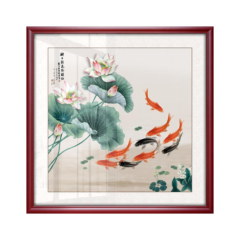 九魚圖風水招財客廳裝飾畫玄關過道走廊掛畫餐廳墻壁畫國畫斗方