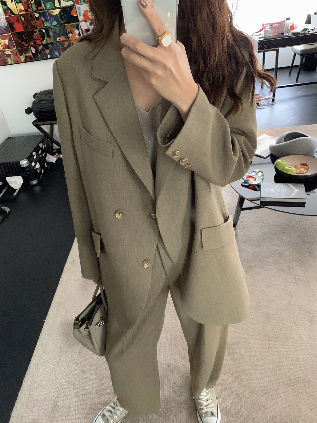 西装外套女春秋 垂感高腰阔腿裤 正暗纹套装 chao 时髦 ANNA ASM
