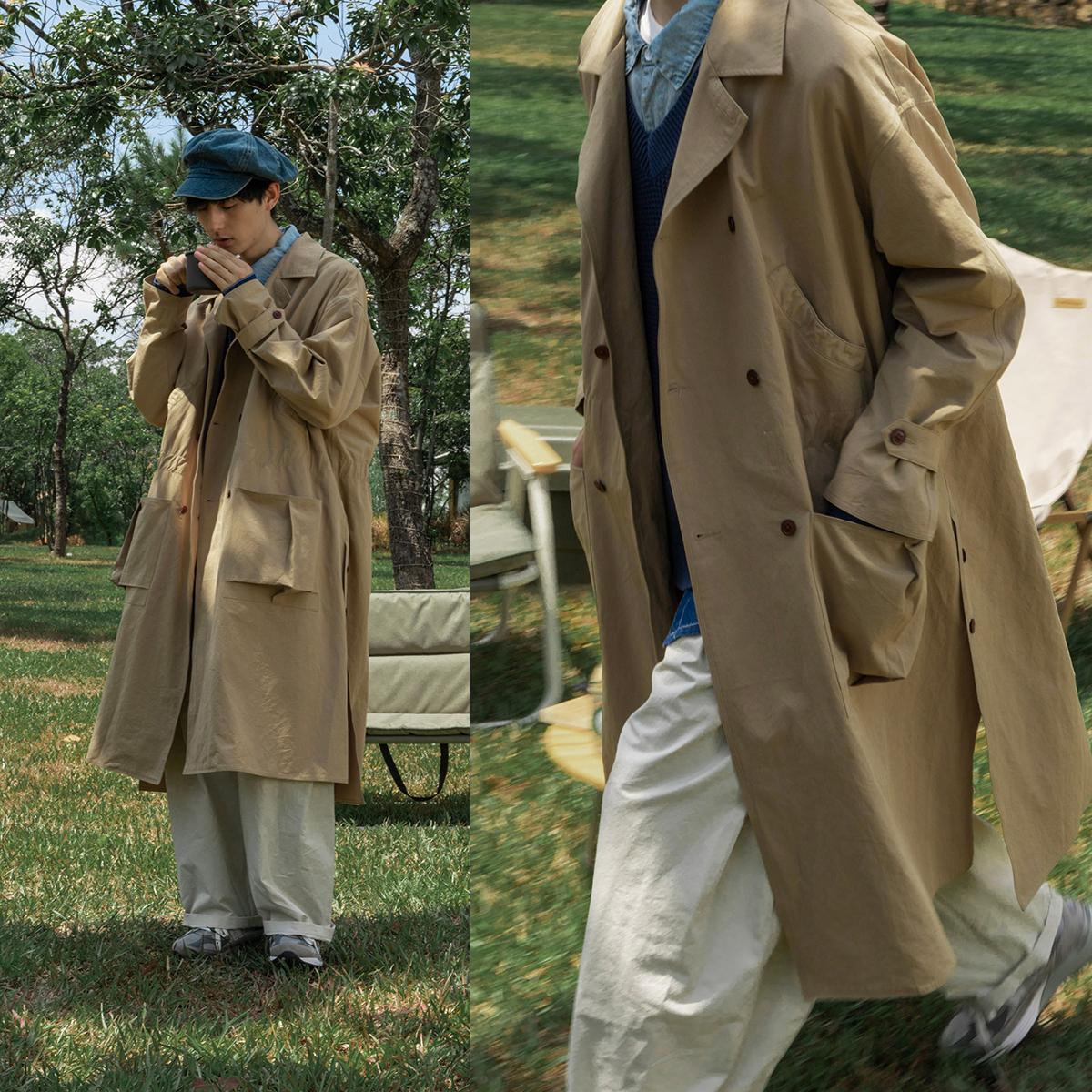 风衣外套男 衣柜里请给它留个位置  蒙马特先生 日系长款收腰大衣