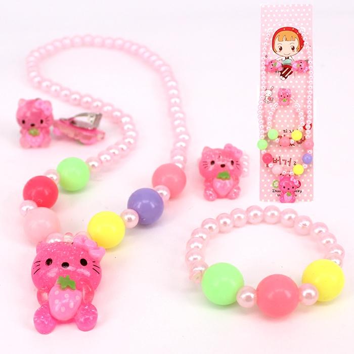 韓國兒童項鍊 公主四件套裝髮飾 女孩珍珠手鍊戒指耳夾頭飾品包郵