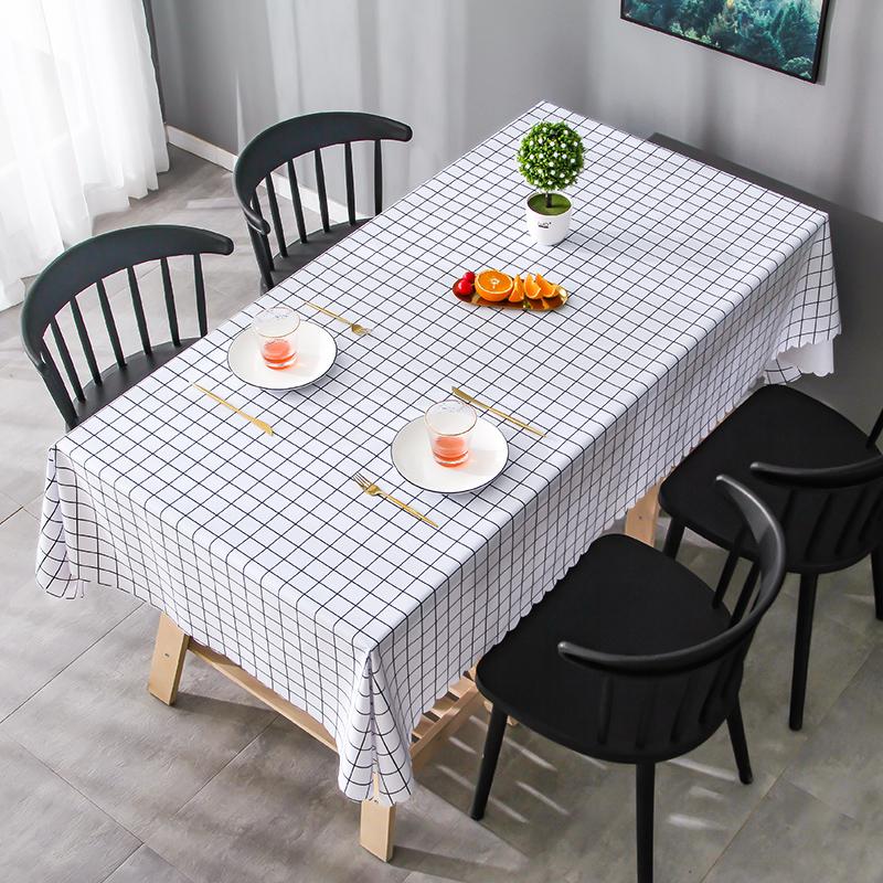 桌布布艺防水防烫防油免洗书桌ins北欧长方形餐桌布pvc茶几桌垫 - 图1