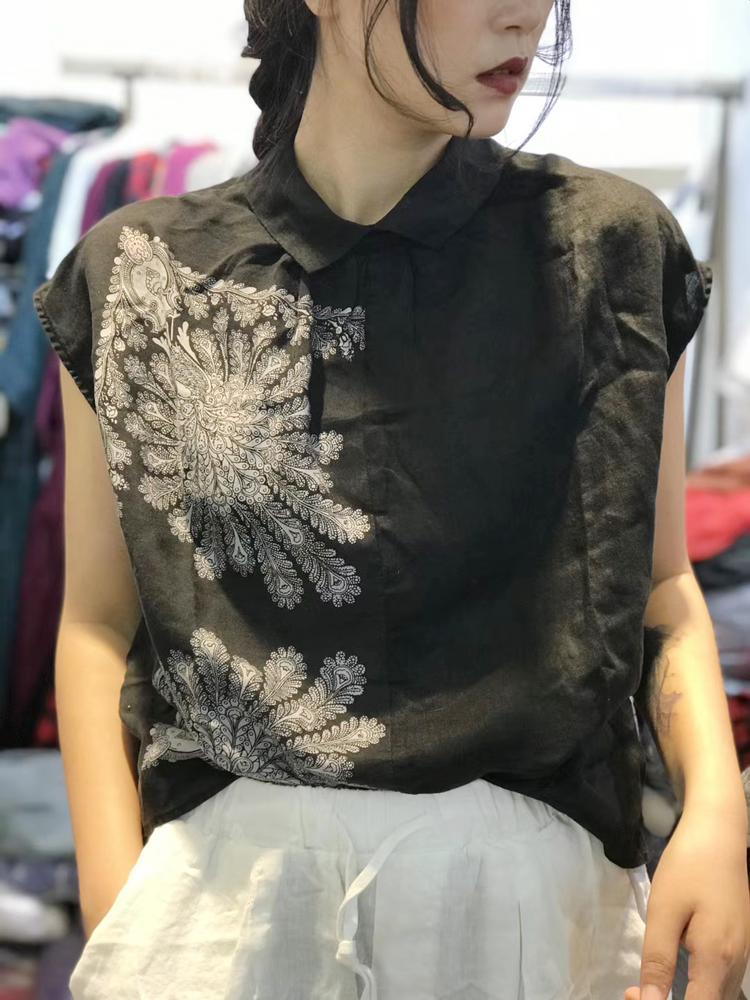 2021夏季复古时尚棉麻女装苎麻印花拼接短袖衬衫百搭文艺减龄上衣