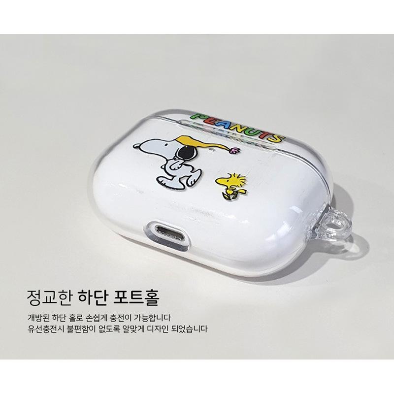 韩国正品史努比适用苹果airpods pro3代蓝牙耳机包卡通透明硬壳薄