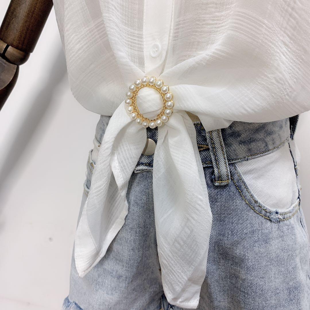 时尚女上衣下摆收口装饰环日韩简约珍珠衣角打结扣个姓金属装饰环