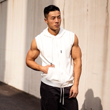 EVENSO Raw zipper hooded vest sports vest fitness elastic solid color sleeveless T-shirt