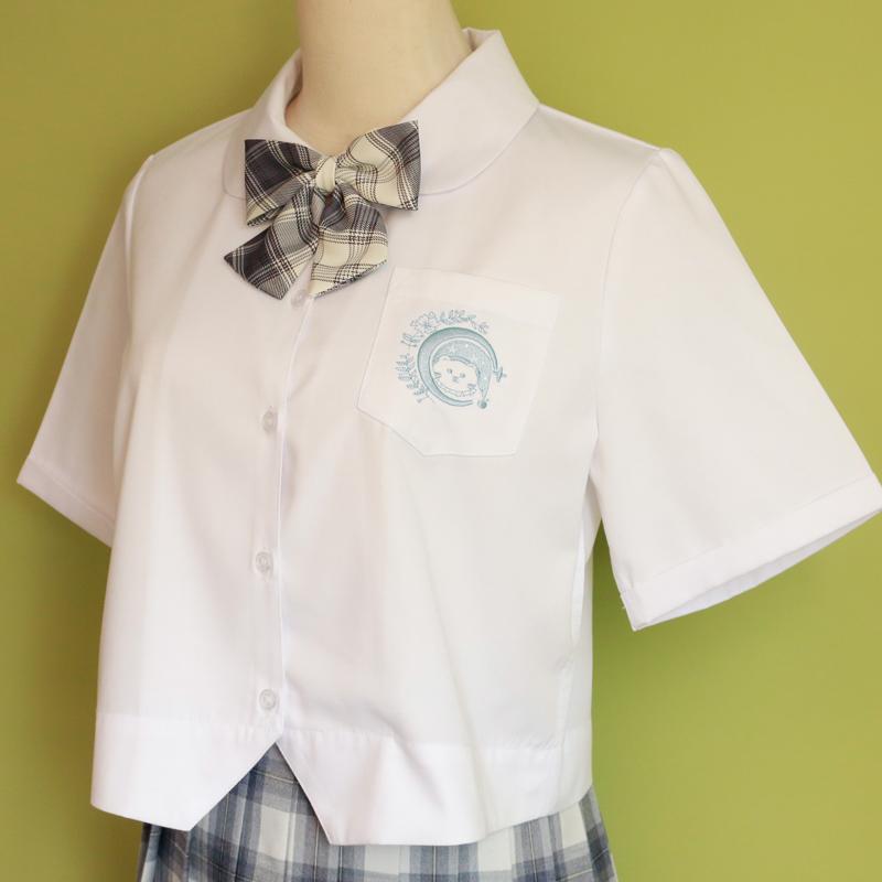 妙氏原创晚安熊短款JK衬衫娃娃领上衣短袖圆领少女衬衣小众设计感主图