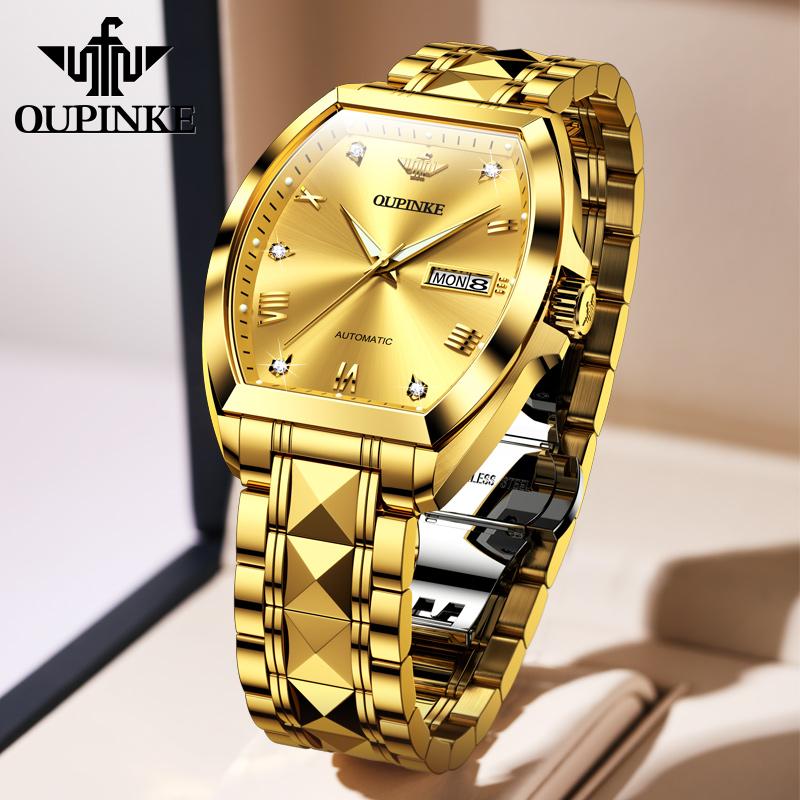瑞士正品牌手表男士全自动机械表理查德复古方形 纯黄金色男表  18K