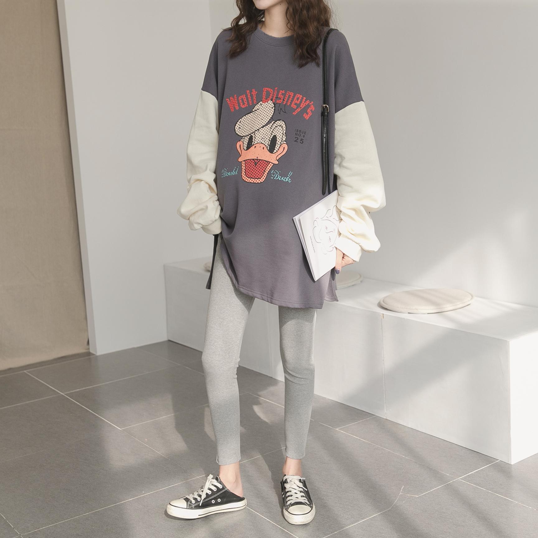 孕妇春装套装时尚款韩国纯棉长袖卡通撞色 恤衫孕妇卫衣两件套潮  T