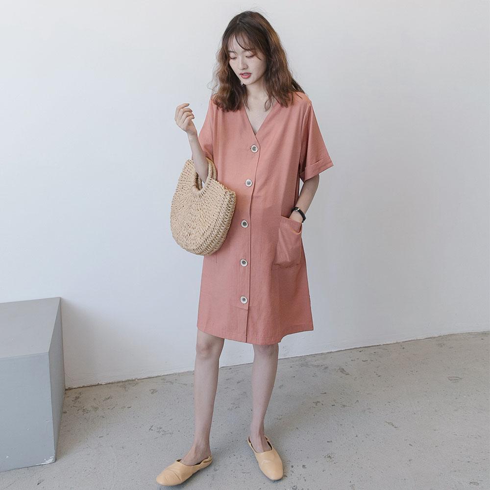 松显瘦潮妈工装夏天中长款裙子