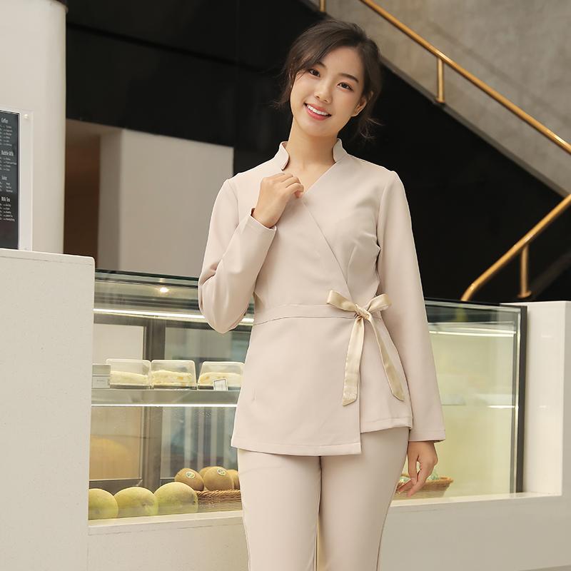 韩国美容师工作服养生馆技师中袖修身七分袖皮肤管理美容院美容服