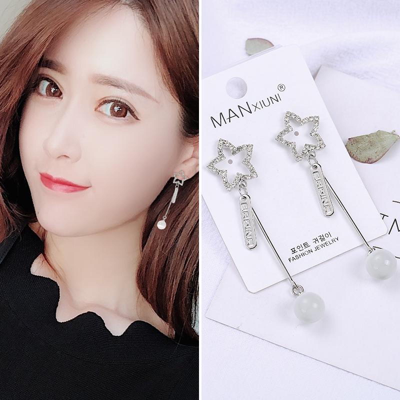 新款潮耳钉  纯银珍珠花朵耳坠夹 925 水晶猫眼石耳环女气质长款 2019