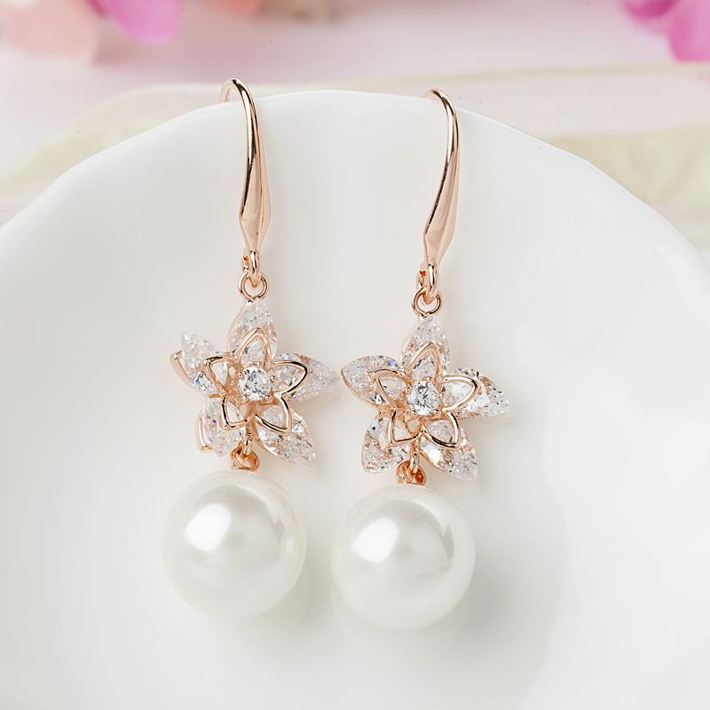 韩国气质时尚耳扣甜美百搭珍珠耳钉饰防过敏925银水晶长款耳环