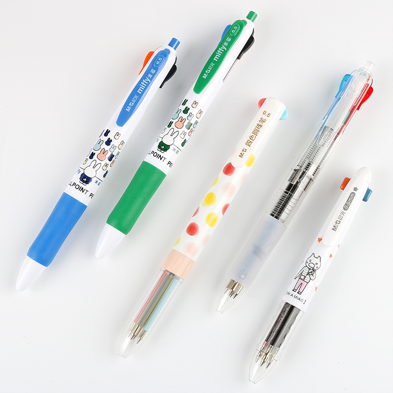 晨光文具四色圆珠笔1006卡通可爱米菲彩色油笔4色0.5mm多色圆珠笔
