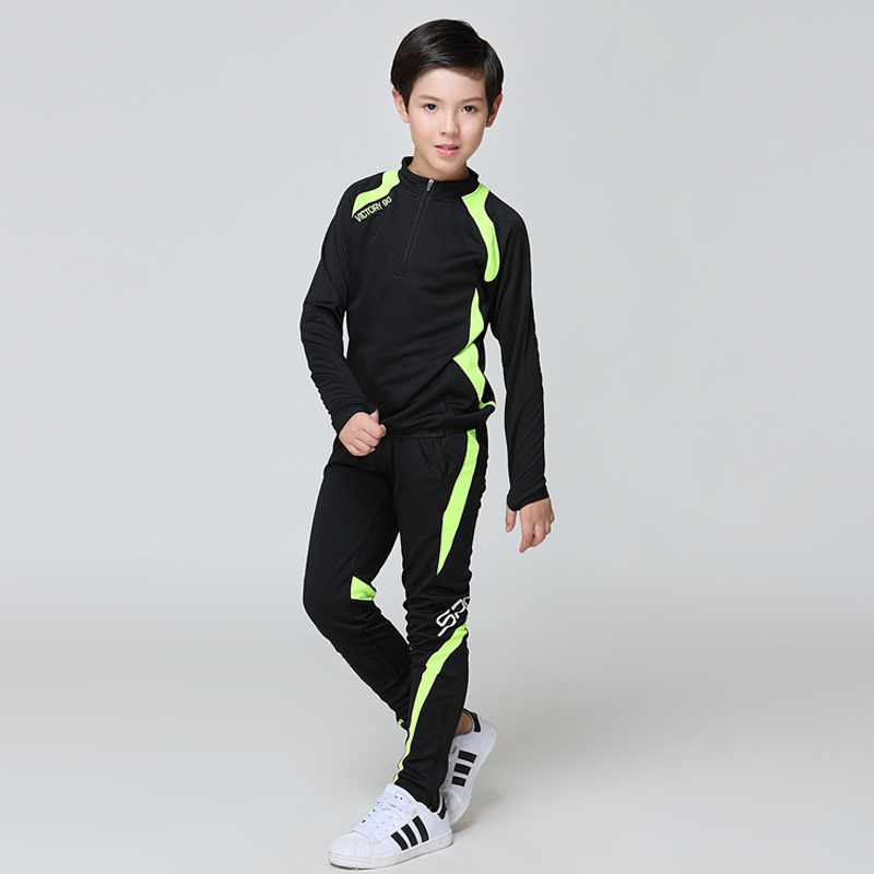 儿童新款长袖足球训练服套装女收腿裤速干外套青少年秋冬季运动服