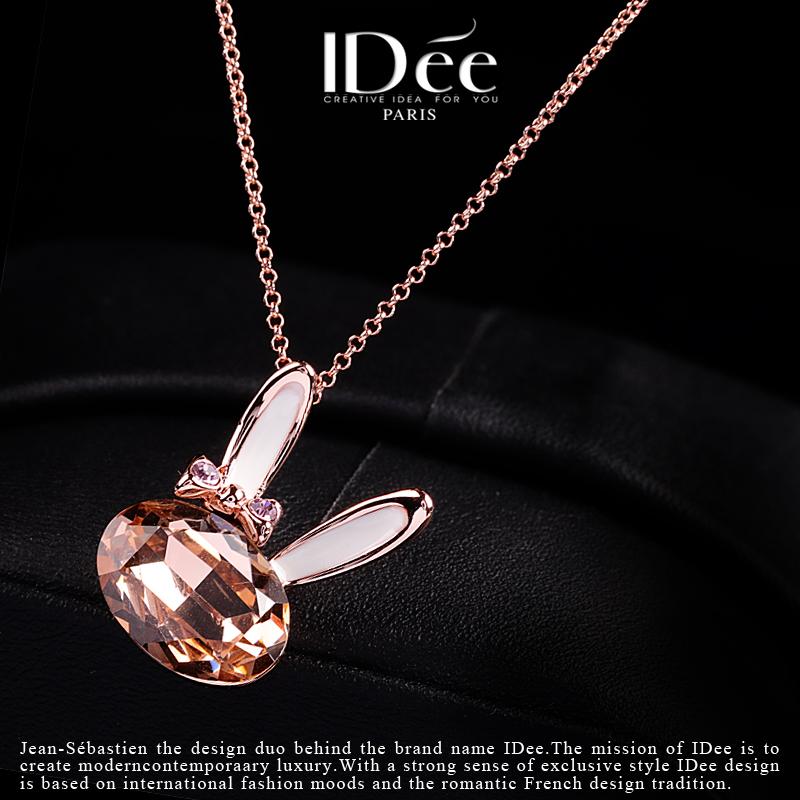 法国IDee项链女锁骨链短款个性水晶文艺兔吊坠网红潮牌时尚饰品