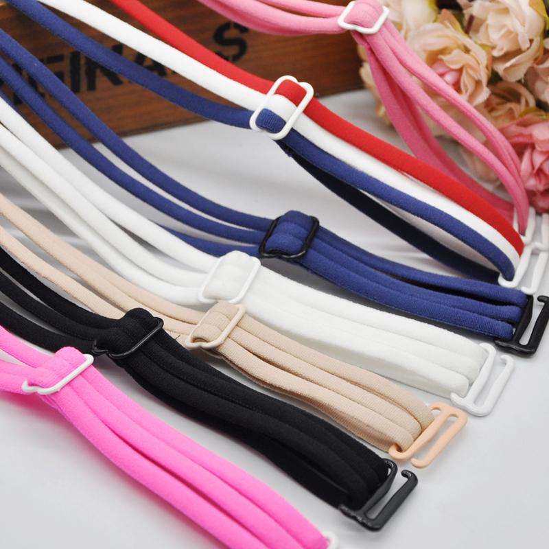 韩国女士内衣配件彩色细带挂脖文胸松紧带宽钩2.0大扣胸罩带子潮