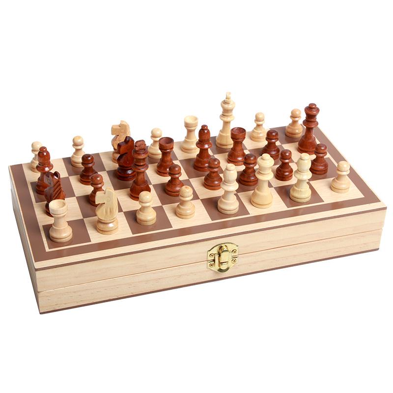 中国象棋儿童国际象棋学习大号便携折叠棋盘实木象棋套装木制玩具