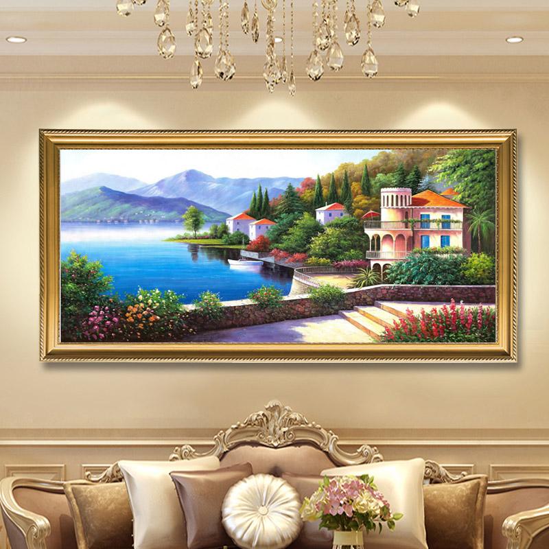 北歐地中海油畫純手繪掛畫歐式客廳臥室大海風景裝飾成品名畫定制