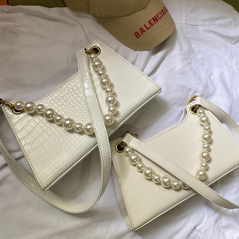 包包2021新款潮百搭高级感单肩包洋气时尚法国小众设计珍珠腋下包