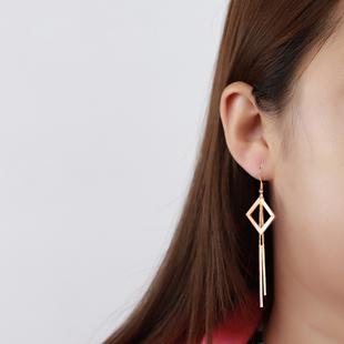 新款纯银韩国气质网红耳饰长款耳坠
