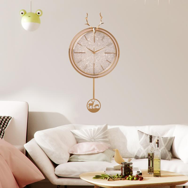 北歐麋鹿頭掛鐘純銅時鐘靜音鐘表個姓裝飾客廳歐式簡約家用石英鐘